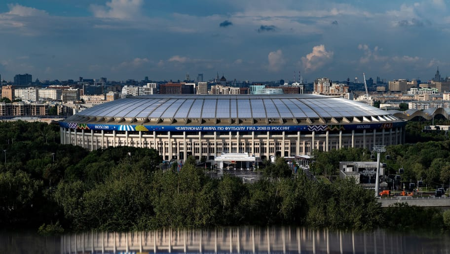MOSCOW, RUSSIA - JULY 09: A general view of the Luzhniki Stadium ahead of the 2018 FIFA World Cup semi-final match between England and Croatia on July 9, 2018 in Moscow, Russia. (Photo by Matthias Hangst/Getty Images)