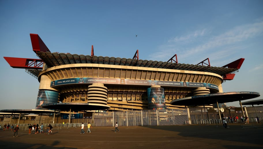 MILAN, ITALY - MAY 27:  An exterior view of the stadium Stadio Giuseppe Meazza on the eve of the UEFA Champions League Final between Real Madrid and Atletico de Madrid at Stadio Giuseppe Meazza on May 27, 2016 in Milan, Italy.  (Photo by Clive Rose/Getty Images)