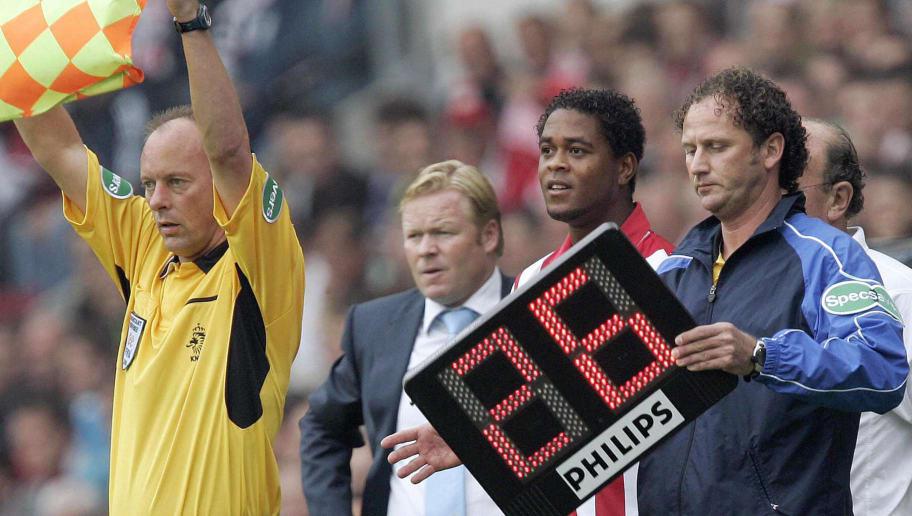PSV's Patrick Kluivert (2ndR) comes in f
