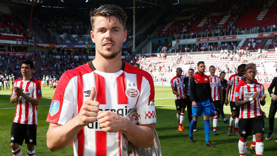 EINDHOVEN, NETHERLANDS - MAY 6: Marco van Ginkel of PSV celebrate with trophy during the Dutch Eredivisie  match between PSV v FC Groningen at the Philips Stadium on May 6, 2018 in Eindhoven Netherlands (Photo by Aaron van Zandvoort/Soccrates/Getty Images)