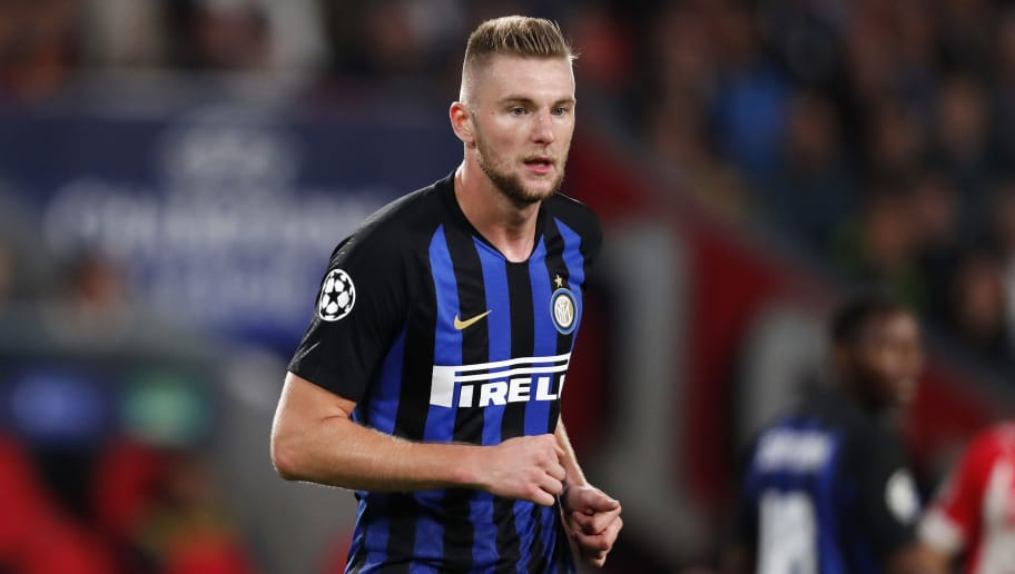 EINDHOVEN, NETHERLANDS - OCTOBER 3: Milan Skriniar of Internazionale during the UEFA Champions League  match between PSV v Internazionale at the Philips Stadium on October 3, 2018 in Eindhoven Netherlands (Photo by Edwin van Zandvoort/Soccrates/Getty Images)