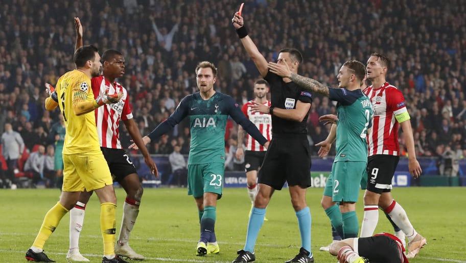 Eindhoven Netherlands October  Hugo Lloris Of Tottenham Hotspur Receives A Red Card
