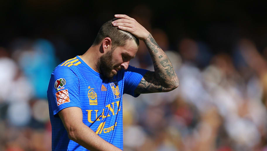 MEXICO CITY, MEXICO - DECEMBER 02: Andre Pierre Gignac of Tigres lament during the quarter finals second leg match between Pumas UNAM and Tigres UANL as part of the Torneo Apertura 2018 Liga MX at Olimpico Universitario Stadium on December 2, 2018 in Mexico City, Mexico. (Photo by Mauricio Salas/Jam Media/Getty Images)