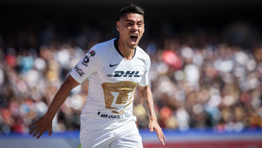 MEXICO CITY, MEXICO - DECEMBER 02: Felipe Mora of Pumas celebrates after scoring the second goal of his team during the quarter finals second leg match between Pumas UNAM and Tigres UANL as part of the Torneo Apertura 2018 Liga MX at Olimpico Universitario Stadium on December 2, 2018 in Mexico City, Mexico. (Photo by Pedro Mera/Getty Images)