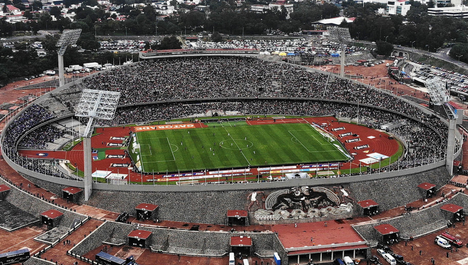 MEXICO CITY, MEXICO - NOVEMBER 04: Aerial view of Olimpico Universitario Stadium during a 15th round match between Pumas UNAM and Cruz Azul as part of Torneo Apertura 2018 Liga MX at Olimpico Universitario Stadium on November 4, 2018 in Mexico City, Mexico. (Photo by Jaime Lopez/Jam Media/Getty Images)