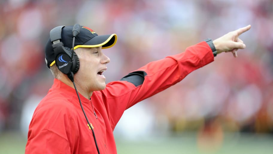 COLLEGE PARK, MD - OCTOBER 01:   Head coach DJ Durkin of the Maryland Terrapins watches the game against the Purdue Boilermakers at Maryland Stadium on October 1, 2016 in College Park, Maryland.  (Photo by G Fiume/Maryland Terrapins/Getty Images)