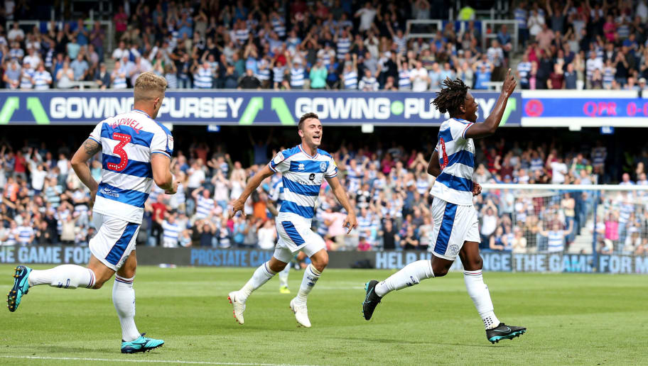 LONDON, ENGLAND - AUGUST 11: Eberechi Eze of Queens Park Rangers celebrates a goal during the Sky Bet Championship match between Queens Park Rangers and Sheffield United at Loftus Road on August 11, 2018 in London, England. (Photo by Luke Walker/Getty Images)