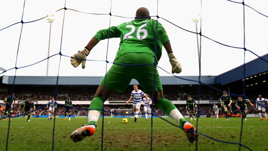 LONDON, ENGLAND - JANUARY 21:  Heidar Helguson of QPR scores the opening goal from the penalty spot  past goalkeeper Ali Al-Habsi #26 of Wigan during the Barclays Premier League match between Queens Park Rangers and Wigan Athletic at Loftus Road on January 21, 2012 in London, England.  (Photo by Paul Gilham/Getty Images)