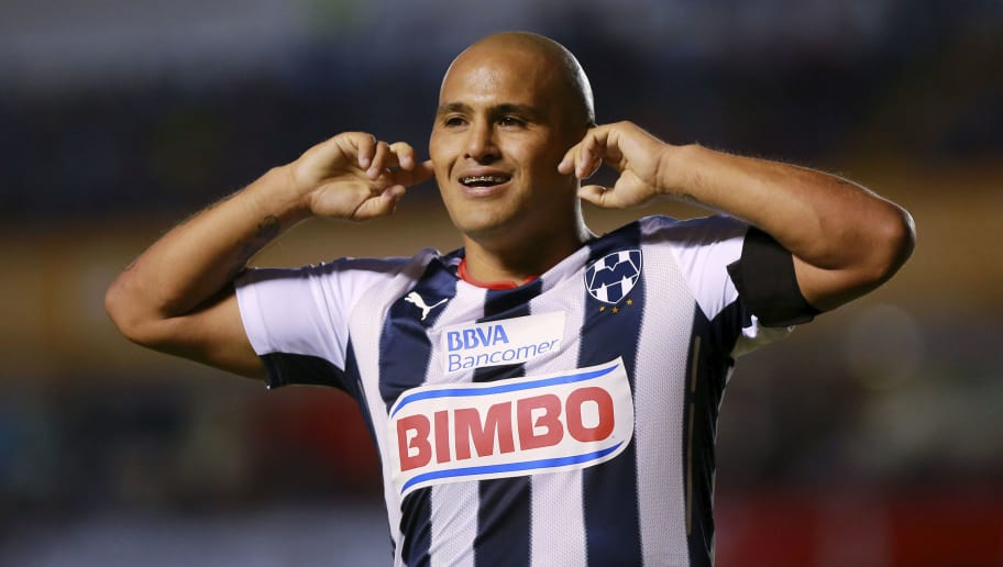 QUERETARO, MEXICO - AUGUST 29:  Humberto Suazo of Monterrey celebrates after scoring the only goal of a match between Queretaro and Monterrey as part of 7th round Apertura 2014 Liga MX at Corregidora Stadium on August 29, 2014 in Queretaro, Mexico. (Photo by Hector Vivas/LatinContent/Getty Images)