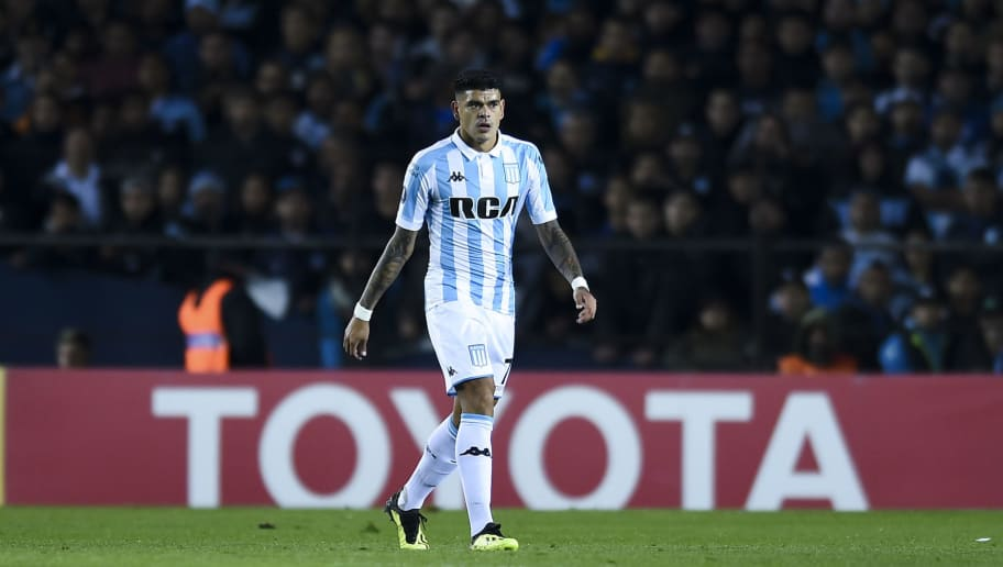 BUENOS AIRES, ARGENTINA - AUGUST 09: Gustavo Bou of Racing Club looks on during a round of sixteen first leg match between River Plate and Racing Club as part of Copa CONMEBOL Libertadores at Juan Domingo Peron Stadium on August 9, 2018 in Buenos Aires, Argentina. (Photo by Marcelo Endelli/Getty Images)