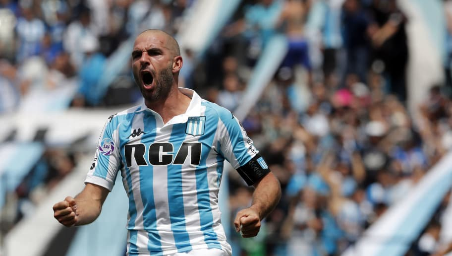 AVELLANEDA, ARGENTINA - OCTOBER 28: Lisandro Lopez of Racing Club celebrates after winning a match between Racing Club and San Lorenzo as part of Superliga 2018/19 at Presidente Peron Stadium on October 28, 2018 in Avellaneda, Argentina. (Photo by Jam Media/Getty Images)