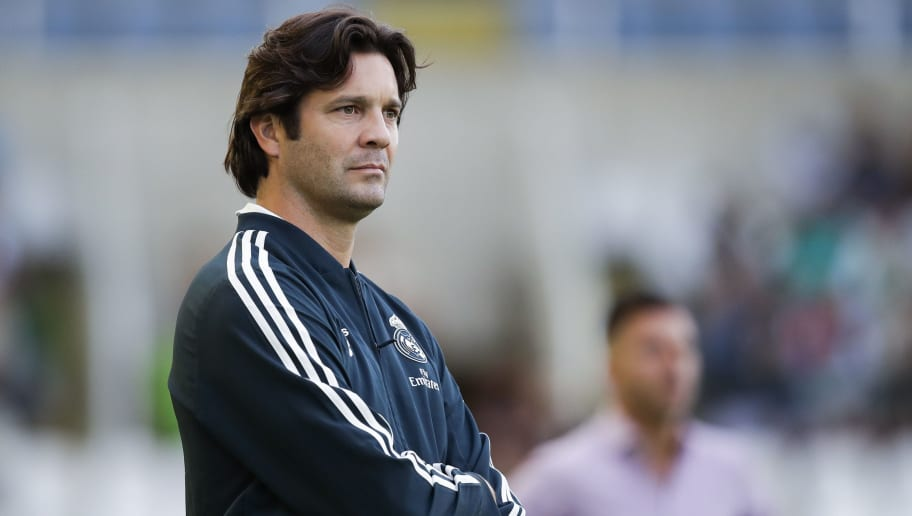 SANTANDER, SPAIN - AUGUST 17: Santiago Solari of Real Madrid Castilla CF  during the    match between Racing Santander v Real Madrid Castilla CF  at the Estadio El Sardinero on August 17, 2018 in Santander Spain (Photo by David S. Bustamante/Soccrates/Getty Images)