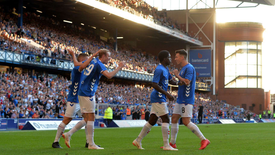 GLASGOW, SCOTLAND - JULY 06: Zak Rudden of Rangers celebrates after scoring a goal in the second half of the game during the Pre-Season Friendly between Rangers and Bury at Ibrox Stadium on July 6, 2018 in Glasgow, Scotland. (Photo by Mark Runnacles/Getty Images)