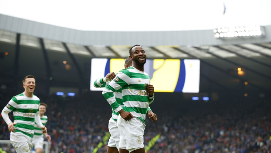 GLASGOW, SCOTLAND - APRIL 15: Moussa Dembele of Celtic celebrates during the Scottish Cup Semi Final between Rangers and Celtic at Hampden Park on April 15, 2018 in Glasgow, Scotland. (Photo by Lynne Cameron/Getty Images)