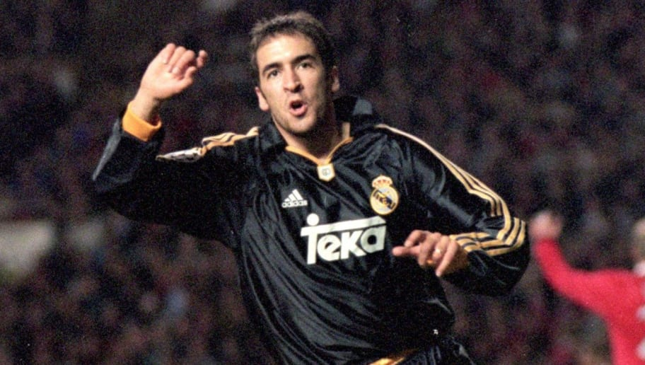 19 Apr 2000:  Raul of Real Madrid celebrates his goal during the UEFA Champions League quarter-final second leg against Manchester United at Old Trafford in Manchester, England.  Real Madrid won the match 3-2.  Mandatory Credit: Michael Steele /Allsport