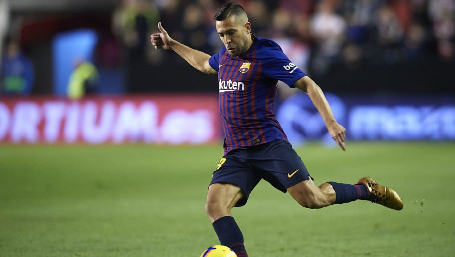 MADRID, SPAIN - NOVEMBER 03:  Jordi Alba of FC Barcelona in action during the La Liga match between Rayo Vallecano de Madrid and FC Barcelona at Campo de Futbol de Vallecas on November 3, 2018 in Madrid, Spain.  (Photo by Quality Sport Images/Getty Images)