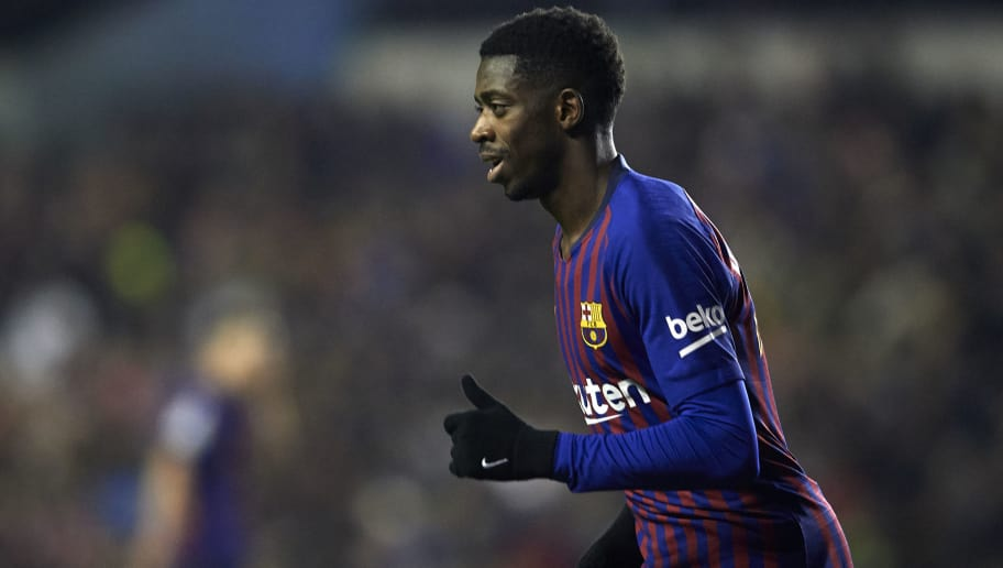 MADRID, SPAIN - NOVEMBER 03:  Ousmane Dembele of Barcelona celebrates after scoring his sides second goal during the La Liga match between Rayo Vallecano de Madrid and FC Barcelona at Campo de Futbol de Vallecas on November 3, 2018 in Madrid, Spain.  (Photo by Quality Sport Images/Getty Images)