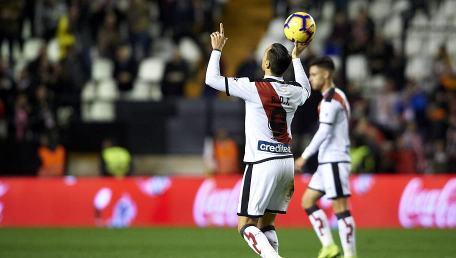 MADRID, SPAIN - NOVEMBER 11:  Raul de Tomas of Rayo Vallecano celebrates after scoring his team's first goal during the La Liga match between Rayo Vallecano de Madrid and Villarreal CF at Campo de Futbol de Vallecas on November 11, 2018 in Madrid, Spain.  (Photo by Quality Sport Images/Getty Images)