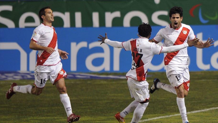 Rayo Vallecano's forward  Diego Costa (R