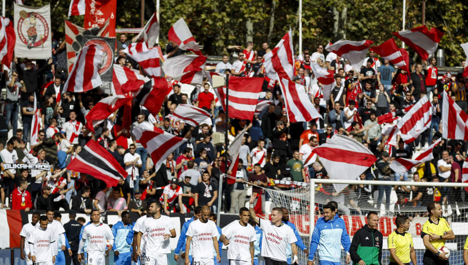 , SPAIN - OCTOBER 21: supporters of Rayo Vallecano during the La Liga Santander  match between Rayo Vallecano v Getafe on October 21, 2018 (Photo by David S. Bustamante/Soccrates /Getty Images)