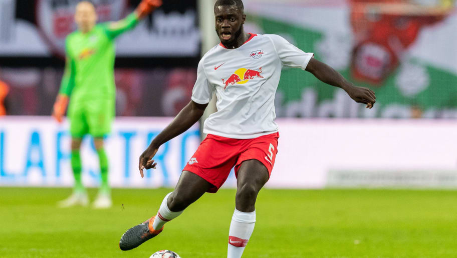 LEIPZIG, GERMANY - OCTOBER 07: Dayot Upamecano of RB Leipzig runs with the ball during the Bundesliga match between RB Leipzig and 1. FC Nuernberg at Red Bull Arena on October 7, 2018 in Leipzig, Germany.  (Photo by Boris Streubel/Bongarts/Getty Images)