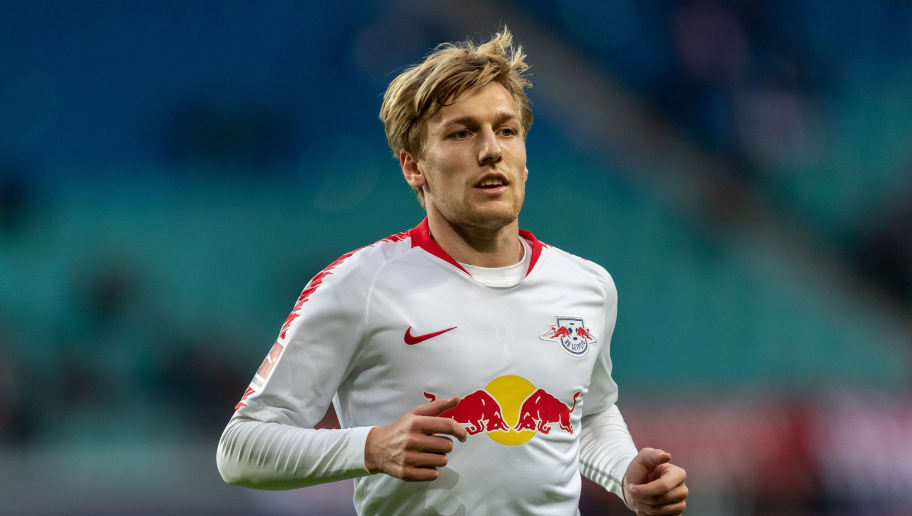 LEIPZIG, GERMANY - OCTOBER 07: Emil Forsberg of RB Leipzig runs during the Bundesliga match between RB Leipzig and 1. FC Nuernberg at Red Bull Arena on October 7, 2018 in Leipzig, Germany.  (Photo by Boris Streubel/Bongarts/Getty Images)