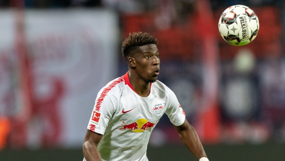 LEIPZIG, GERMANY - OCTOBER 07: Nordi Mukiele of RB Leipzig controls the ball during the Bundesliga match between RB Leipzig and 1. FC Nuernberg at Red Bull Arena on October 7, 2018 in Leipzig, Germany.  (Photo by Boris Streubel/Bongarts/Getty Images)