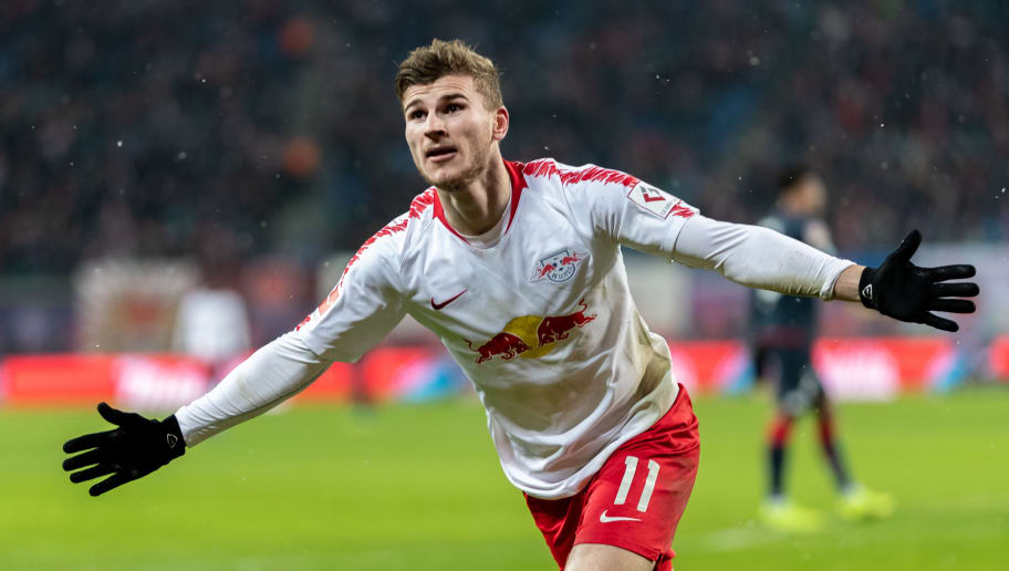 LEIPZIG, GERMANY - DECEMBER 16: Timo Werner of RB Leipzig celebrates after scoring his team's third goal during the Bundesliga match between RB Leipzig and 1. FSV Mainz 05 at Red Bull Arena on December 16, 2018 in Leipzig, Germany. (Photo by Boris Streubel/Bongarts/Getty Images)