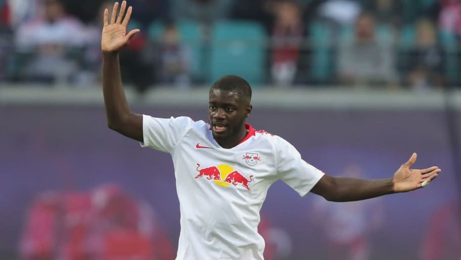LEIPZIG, GERMANY - NOVEMBER 11:  Dayot Upamecano of Leipzig reacts  during the Bundesliga match between RB Leipzig and Bayer 04 Leverkusen at Red Bull Arena on November 11, 2018 in Leipzig, Germany.  (Photo by Alexander Hassenstein/Bongarts/Getty Images)