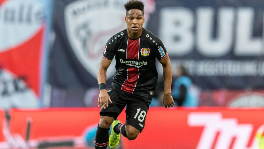 LEIPZIG, GERMANY - NOVEMBER 11:  Wendell of Bayer 04 Leverkusen runs with the ball during the Bundesliga match between RB Leipzig and Bayer 04 Leverkusen at Red Bull Arena on November 11, 2018 in Leipzig, Germany. (Photo by Boris Streubel/Getty Images)