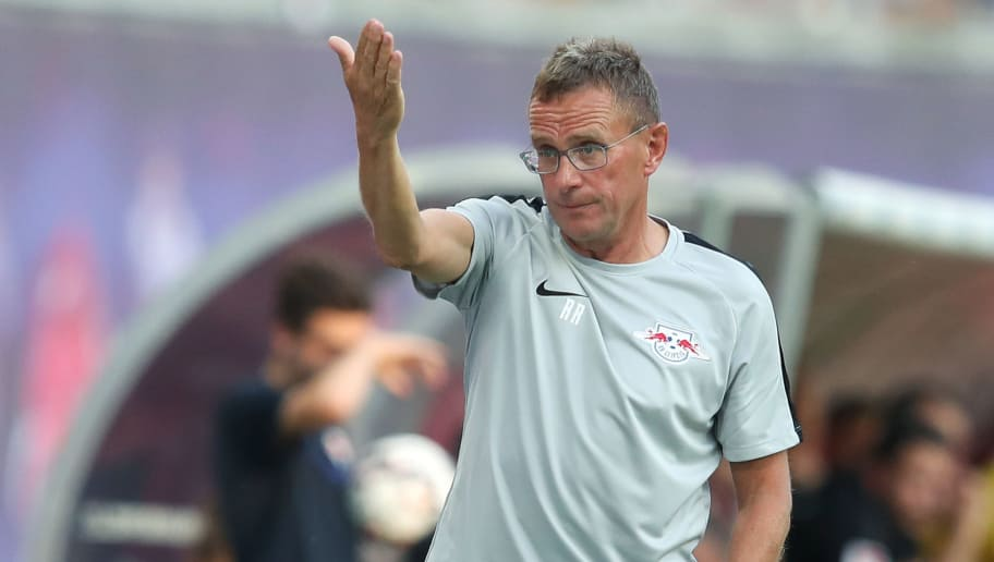 LEIPZIG, GERMANY - JULY 26: Head coach Ralf Rangnick of RB Leipzig gestures during the UEFA Europa League, Qualifying Second Round, First Leg match between RB Leipzig and BK Haecken at Red Bull Arena on July 26, 2018 in Leipzig, Germany. (Photo by Ronny Hartmann/Bongarts/Getty Images)
