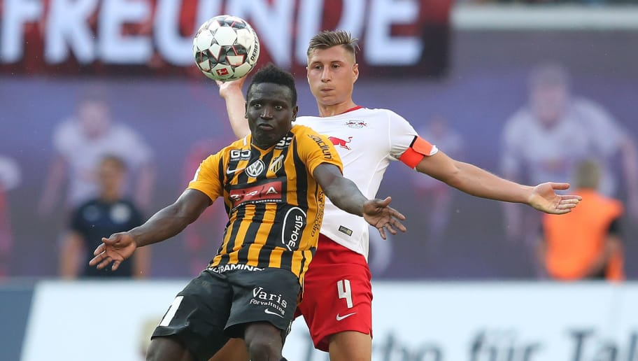 LEIPZIG, GERMANY - JULY 26: Willi Orban (R) of RB Leipzig and Alhassan Kamara (L) of BK Haecken compete during the UEFA Europa League Qualifier leg one match between RB Leipzig and BK Haecken at Red Bull Arena on July 26, 2018 in Leipzig, Germany. (Photo by Ronny Hartmann/Bongarts/Getty Images)