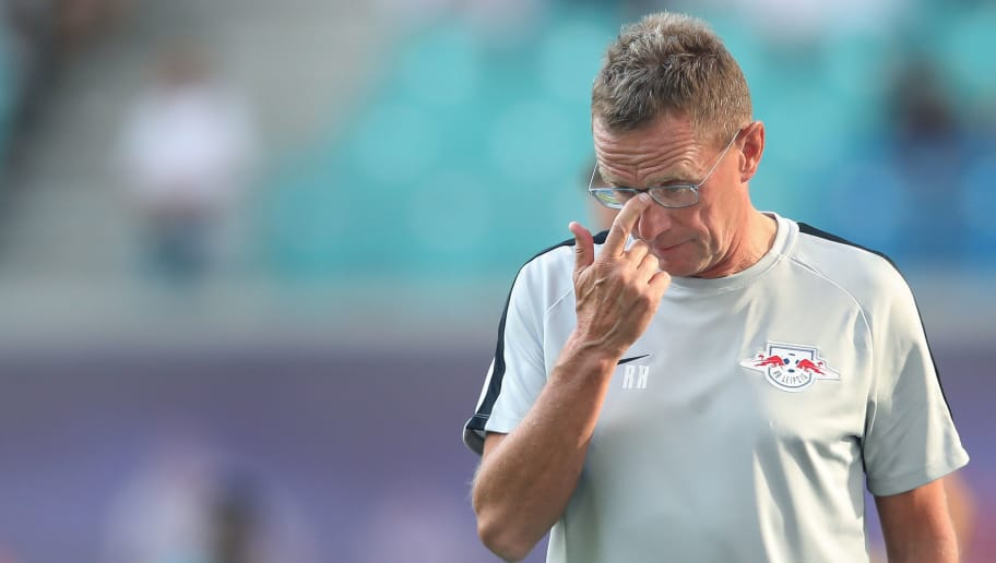 LEIPZIG, GERMANY - JULY 26: Head coach Ralf Rangnick of RB Leipzig reacts prior to the UEFA Europa League, Qualifying Second Round, First Leg match between RB Leipzig and BK Haecken at Red Bull Arena on July 26, 2018 in Leipzig, Germany. (Photo by Ronny Hartmann/Bongarts/Getty Images)