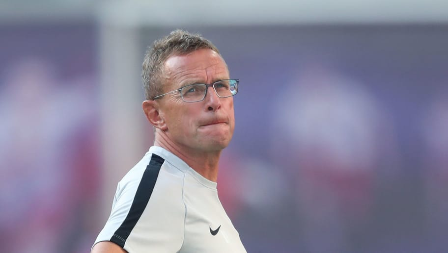 LEIPZIG, GERMANY - JULY 26: Head coach Ralf Rangnick of RB Leipzig looks on prior to the UEFA Europa League, Qualifying Second Round, First Leg match between RB Leipzig and BK Haecken at Red Bull Arena on July 26, 2018 in Leipzig, Germany. (Photo by Ronny Hartmann/Bongarts/Getty Images)
