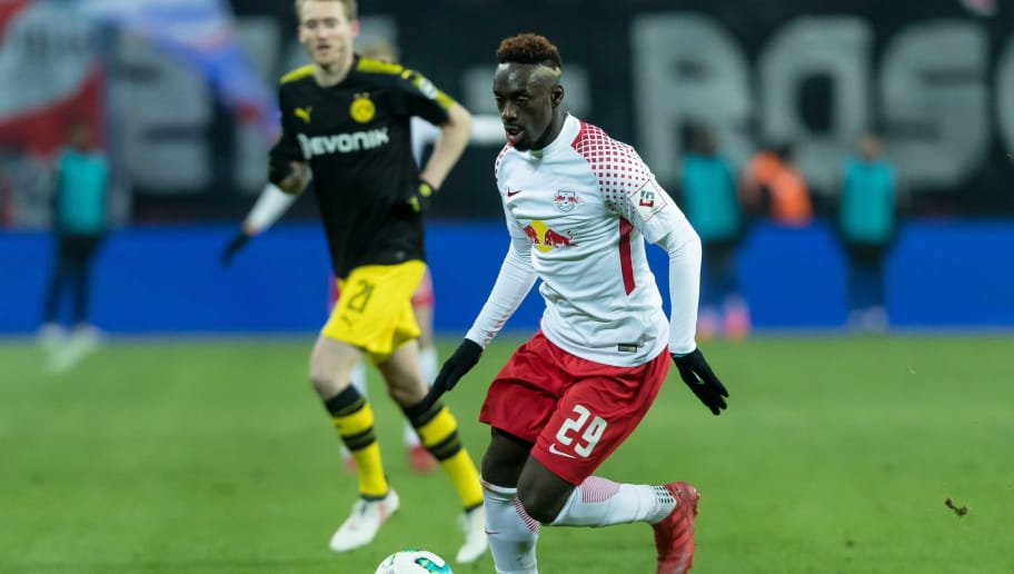 LEIPZIG, GERMANY - MARCH 03: Jean-Kevin Augustin of Leipzig controls the ball during the Bundesliga match between RB Leipzig and Borussia Dortmund at Red Bull Arena on March 3, 2018 in Leipzig, Germany. (Photo by TF-Images/TF-Images via Getty Images)