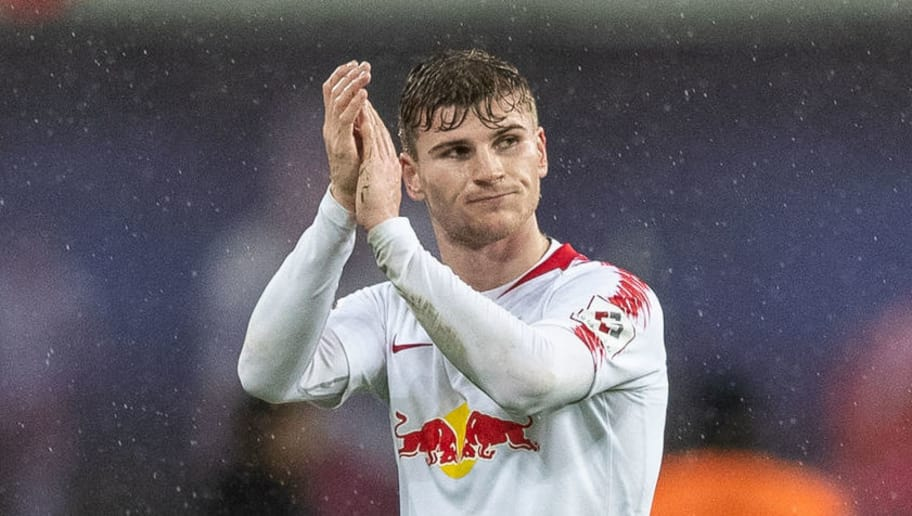 LEIPZIG, GERMANY - DECEMBER 02: Timo Werner of RB Leipzig wave to his fans during the Bundesliga match between RB Leipzig and Borussia Moenchengladbach at Red Bull Arena on December 2, 2018 in Leipzig, Germany. (Photo by Boris Streubel/Bongarts/Getty Images)