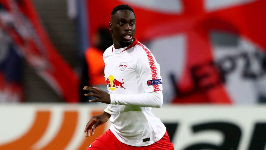 LEIPZIG, GERMANY - OCTOBER 25:  Jean Kevin Augustin of Leipzig runs with the ball during the UEFA Europa League Group B match between RB Leipzig and Celtic at Red Bull Arena on October 25, 2018 in Leipzig, Germany.  (Photo by Martin Rose/Bongarts/Getty Images)