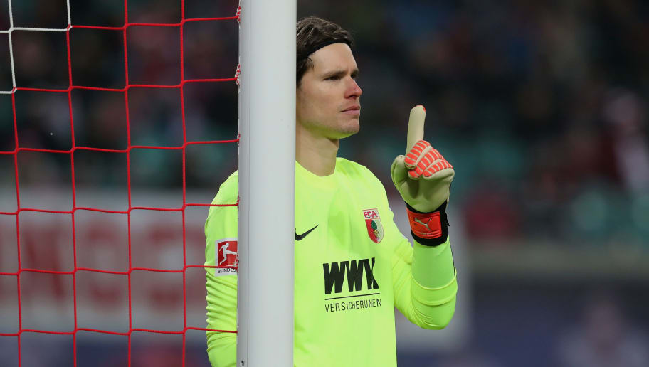 LEIPZIG, GERMANY - FEBRUARY 09:  Goalkeeper Marvin Hitz of FC Augsburg gestures during the Bundesliga match between RB Leipzig and FC Augsburg at Red Bull Arena on February 9, 2018 in Leipzig, Germany.  (Photo by Boris Streubel/Bongarts/Getty Images)