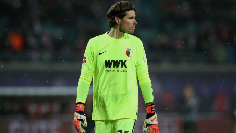 LEIPZIG, GERMANY - FEBRUARY 09:  Goalkeeper Marvin Hitz of FC Augsburg looks dejected after losing the Bundesliga match between RB Leipzig and FC Augsburg at Red Bull Arena on February 9, 2018 in Leipzig, Germany.  (Photo by Boris Streubel/Bongarts/Getty Images)