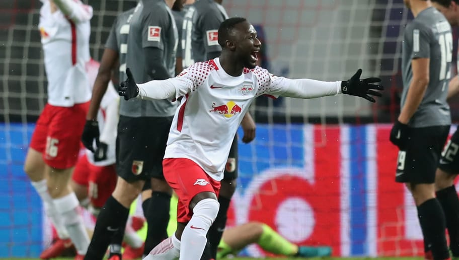 LEIPZIG, GERMANY - FEBRUARY 09:  Naby Keita of RB Leipzig celebrates after scoring his team's second goal during the Bundesliga match between RB Leipzig and FC Augsburg at Red Bull Arena on February 9, 2018 in Leipzig, Germany.  (Photo by Boris Streubel/Bongarts/Getty Images)