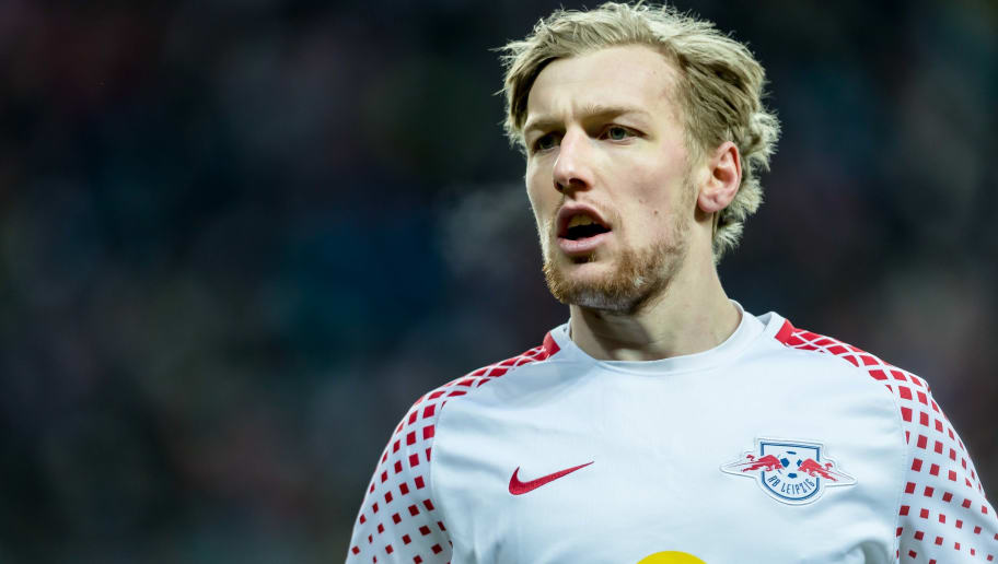 LEIPZIG, GERMANY - MARCH 18: Emil Forsberg of Leipzig looks on during the Bundesliga match between RB Leipzig and FC Bayern Muenchen at Red Bull Arena on March 18, 2018 in Leipzig, Germany. (Photo by TF-Images/Getty Images)
