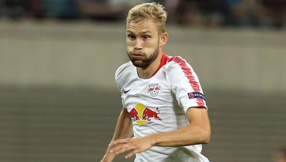 LEIPZIG, GERMANY - SEPTEMBER 20:  Konrad Laimer of Leipzig runs with the ball during the UEFA Europa League Group B match between RB Leipzig and FC Salzburg at Red Bull Arena on September 20, 2018 in Leipzig, Germany.  (Photo by Matthias Kern/Bongarts/Getty Images)
