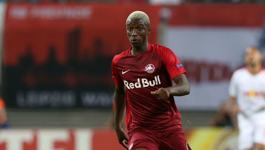 LEIPZIG, GERMANY - SEPTEMBER 20:  Amadou Haidara of Salzburg runs with the ball during the UEFA Europa League Group B match between RB Leipzig and FC Salzburg at Red Bull Arena on September 20, 2018 in Leipzig, Germany.  (Photo by Matthias Kern/Bongarts/Getty Images)