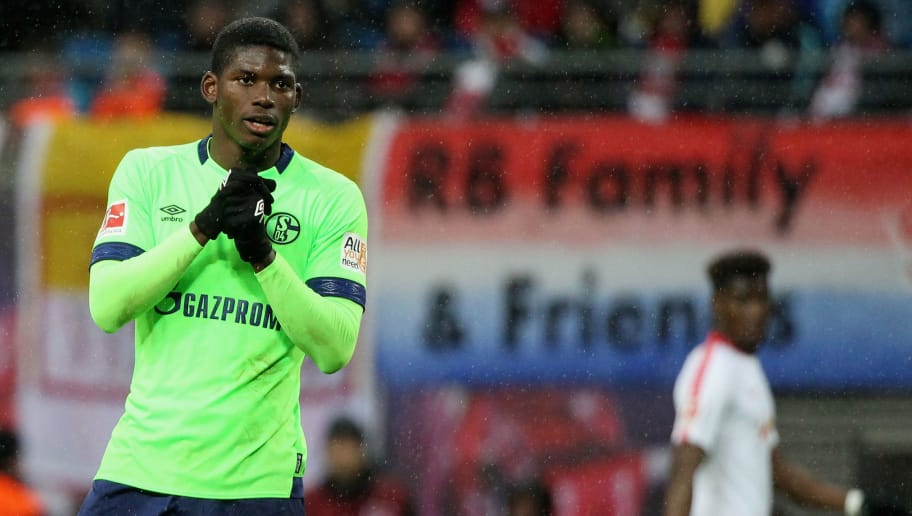 LEIPZIG, GERMANY - OCTOBER 28:  Breel Embolo of Schalke reacts during the 1.Bundesliga match between RB Leipzig and FC Schalke 04 at Red Bull Arena on October 28, 2018 in Leipzig, Germany. (Photo by Karina Hessland-Wissel/Bongarts/Getty Images)