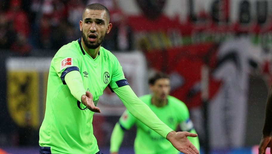 LEIPZIG, GERMANY - OCTOBER 28:  Nabil Bentaleb of Schalke reacts during the 1.Bundesliga match between RB Leipzig and FC Schalke 04 at Red Bull Arena on October 28, 2018 in Leipzig, Germany. (Photo by Karina Hessland-Wissel/Bongarts/Getty Images)