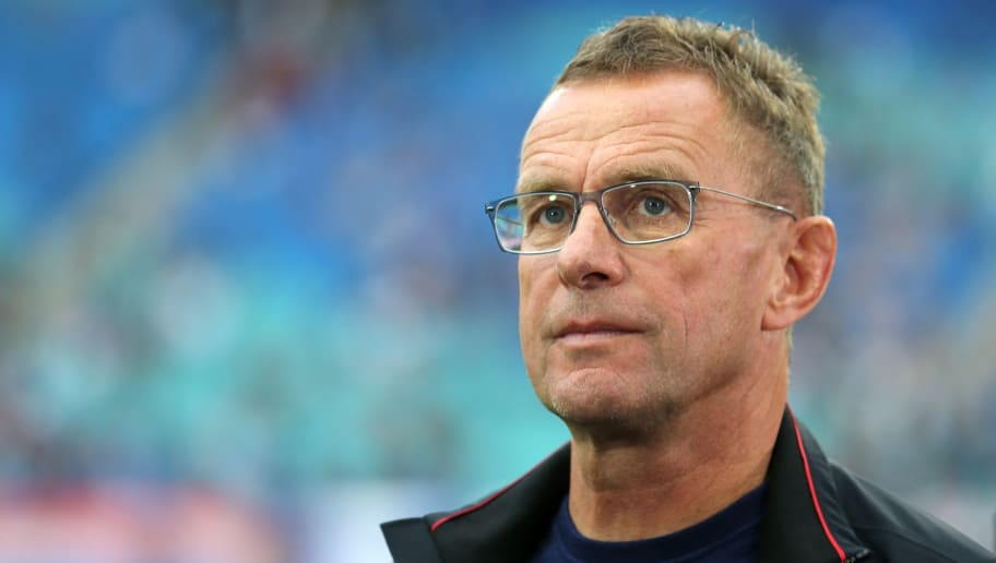 LEIPZIG, GERMANY - SEPTEMBER 02:  Head coach Ralf Rangnick of Leipzig looks on prior to the Bundesliga match between RB Leipzig and Fortuna Duesseldorf at Red Bull Arena on September 2, 2018 in Leipzig, Germany.  (Photo by Matthias Kern/Bongarts/Getty Images)