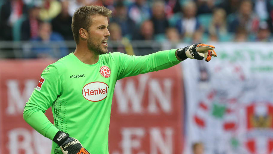LEIPZIG, GERMANY - SEPTEMBER 02:  Goalkeeper Michael Rensing of Duesseldorf gestures during the Bundesliga match between RB Leipzig and Fortuna Duesseldorf at Red Bull Arena on September 2, 2018 in Leipzig, Germany. (Photo by Matthias Kern/Bongarts/Getty Images)
