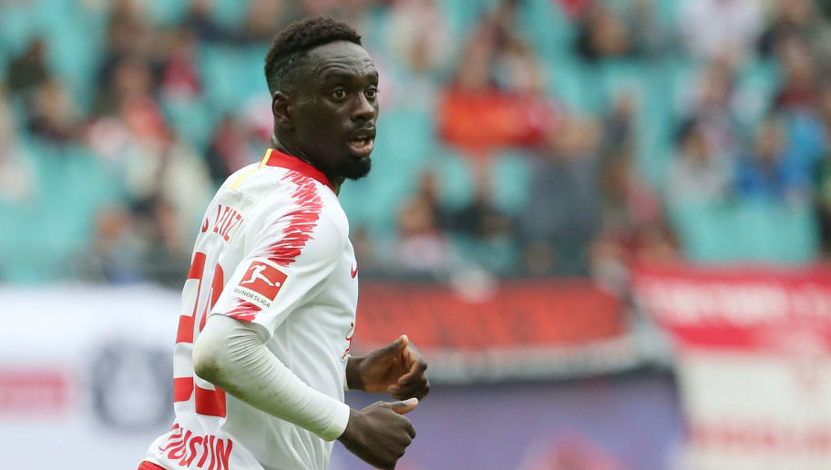 LEIPZIG, GERMANY - SEPTEMBER 02:  Jean Kevin Augustin of Leipzig looks on during the Bundesliga match between RB Leipzig and Fortuna Duesseldorf at Red Bull Arena on September 2, 2018 in Leipzig, Germany.  (Photo by Matthias Kern/Bongarts/Getty Images)