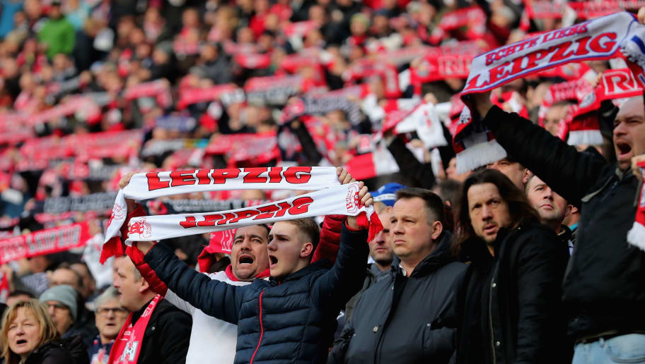 LEIPZIG, GERMANY - JANUARY 27: Fans of RB Leipzig celebrate during the Bundesliga match between RB Leipzig and Hamburger SV at Red Bull Arena on January 27, 2018 in Leipzig, Germany.  (Photo by Boris Streubel/Bongarts/Getty Images)