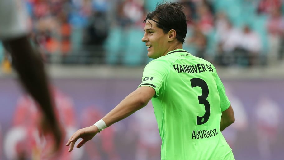 LEIPZIG, GERMANY - SEPTEMBER 15:  Miiko Albornoz of Hannover jubilates after scoring the fived goal during the Bundesliga match between RB Leipzig and Hannover 96 at Red Bull Arena on September 15, 2018 in Leipzig, Germany.  (Photo by Matthias Kern/Bongarts/Getty Images)